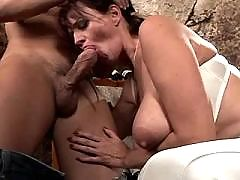 Mom does blowjob and gets titsfuck